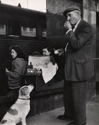 Hungry Man and Dog, Rome, 1950, 11-3/8 x 9 Vintage Silver Gelatin Photograph