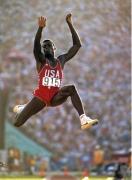 Carl Lewis, Summer Olympics, LA Memorial Coliseum,1984, Color Photograph