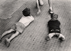 Two Boys on Floor, Naples, 1960, 8-3/16 x 11-7/10 Vintage Silver Gelatin Photograph