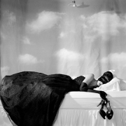 Zoe Sleeping with Mask, Snedens Landing, New York, 2007, Archive Number: TSL-0907-031-01, 16 x 20 Silver Gelatin Photograph