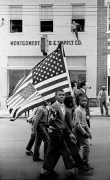 Marchers, with boys holding their American flags, Selma to Montgomery, Alabama Civil Rights March, March 25, 1965
