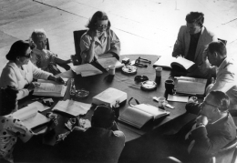 """Bette Davis, (Reading Script with Group), """"What Ever Happened to Baby Jane,"""" 1962, 16 x 20 Silver Gelatin Photograph"""