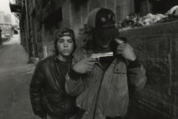 Rat and Mike with a gun. Seattle, Washington, 1983, Silver Gelatin Photograph