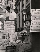 Newspaper Seller at Galleria, Naples, 1960, 10-3/8 x 8-1/16 Vintage Silver Gelatin Photograph