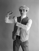 Andy Warhol Modeling with Hands, NYC, 1982