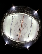 NY Rangers Face Off Against Detroit Red Wings, Madison Square Garden, NY, 1963, Color Photograph
