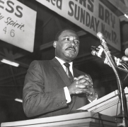 Martin Luther King Jr. rallied more than fifteen thousand supporters of teh memphis sanitation workers' strik at teh cavernous Mason Temple, Monday, March 18, 1968, Archival Pigment Print