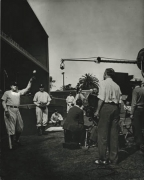 """Babe Ruth (with Ball) & Gary Cooper (on the set, """"Pride of the Yankees""""), 1942, 14 x 11 Vintage Silver Gelatin Photograph"""