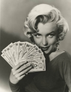 Marilyn Monroe (Holding Money), 1953, 14 x 11 Silver Gelatin Photograph