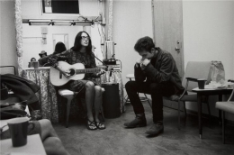 Bob Dylan and Joan Baez, (Mimi and Dick Farina in Mirror), Location Unknown, 1964, 11 x 14 Silver Gelatin Photograph
