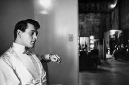 Rock Hudson in his Universal Studios dressing room during filming of One Desire, Universal City, California, 1954