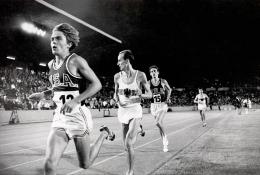 Steve Prefontaine in action during Men's 5000 Meter race at Neckarstadion, Stuttgart, West Germany, 1970, Silver Gelatin Photograph
