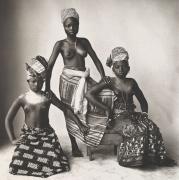 Three Aizo Girls of a Lagoon Village, (Three Dahomey Girls, One Standing),Dahomey, 1974, Platinum Palladium Photograph, Ed. of 30