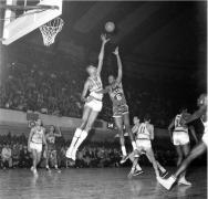 Bill Russell - Wilt Chamberlain, Philadelphia Warriors vs Boston Celtics, Convention Hall, Philadelphia, 1960, Silver Gelatin Photograph