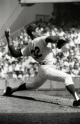 Sandy Koufax Pitching, Los Angeles Dodgers vs. Minnesota Twins in World Series Game Give, Dodger Stadium, 1965, Silver Gelatin Photograph