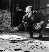 Martha Holmes Jackson Pollock painting in his studio, 1949
