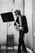 Dylan Recording with Crossed Legs, NYC, 1965, Silver Gelatin Photograph