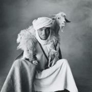 Berber Shepherd with Goat, Khenifra, Morocco, 1971, Vintage Silver Gelatin Photograph, Ed. of 9