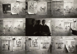 """""""Methods of Killing - Drawings on Wall in Dharamsala, India, and Three Nuns Who Escaped Chinese Torture in Tibet"""", 1996, 11-5/16 x 16-13/16 Toned Iris Print, Ed. 25"""