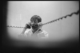 Gary Gilmore on Phone, a few hours before his execution, Draper, Utah, January 27, 1977, 16 x 20 Silver Gelatin Photograph, Ed. 35