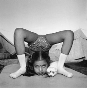 Contortionist with Sweety the Puppy, Great Raj Kamal Circus, Upleta, India, 1989, Silver Gelatin Photograph