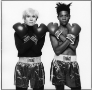 Michael Halsband Andy Warhol and Jean-Michel Basquiat with Boxing Gloves, 1985