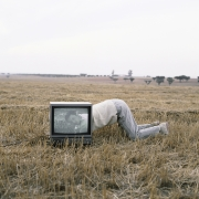 Naka in the TV on the Plains of the Algarve, Portugal, 1992, Archival Pigment Print