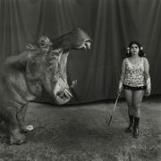 Hippopotamus and Performer, Great Raynow Circus, Madras, India,1989, Silver Gelatin Photograph