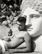 Youth in front of Roman Bust, Rome, Italy,1949, Silver Gelatin Photograph