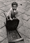 Little Boy with a Chair, Naples, 1960, 11-3/16 x 7-13/16 Vintage Silver Gelatin Photograph