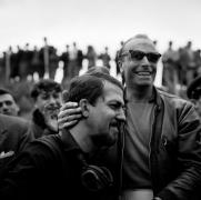 Porsche Driver Eddie Barth Congratulates Codriver Jo Bennier at the Targa Florio, Sicily 1958