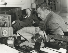 Alfred Hitchcock and David Selznick, 1953, 11 x 14 Silver Gelatin Photograph