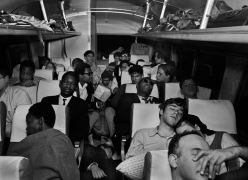 On the Road to Montgomery: City College of New York (CCNY) students sleeping overnight on bus to meet up with the Selma to Montgomery civil rights march, on March 24, 1965