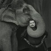 Ram Prakash Singh with his Elephant Shyama, Great Golden Circus, Ahmedabad, India,1990, Silver Gelatin Photograph