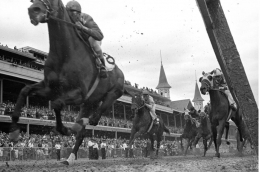 Kentucky Derby, The First Turn at Churchill Downs, 1961, Silver Gelatin Photograph