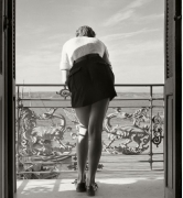 Sibbi looks out on the sea, Italy, 1936, Silver Gelatin Photograph