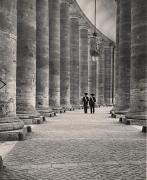 Bernini Collonades, Rome, Vatican, 1950, 11-1/2 x 9-3/8 Vintage Silver Gelatin Photograph