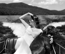 Marina in Boat with Dog, Lake Placid, New York, 2006, Archive Number: EBR-0706-057-52, 16 x 20 Silver Gelatin Photograph