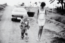 Helena with Alien, Mohave Desert, 1990