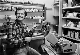 Jack Nicholson at his BBS film company editing film at his Moviola, Der Stern Magazine, 1970, Silver Gelatin Photograph