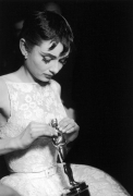 """Ralph Morse Audrey Hepburn with her Oscar for her role in """"Roman Holiday,"""" Academy Awards, 1954"""