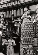 Stacking Tins on the Street, Naples, 1961, 11-3/8 x 7-13/16 Vintage Silver Gelatin Photograph