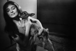 Audrey Hepburn hugs Ip on Green Mansions, 1958