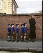 Model with School Boys, England, 1995, Archival Pigment Print