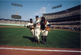 Don Drysdale, Jim Gilliam, and Johnny Roseboro, LA Dodgers, Game 3 of World Series, 1963, Color Photograph
