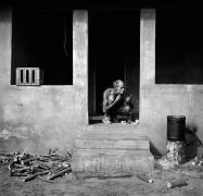 Man Shaving on Veranda, Western TVL 1986, Silver Gelatin Photograph