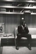 Jackie Robinson Tossing Ball with Phone, 20 x 16 Silver Gelatin Photograph