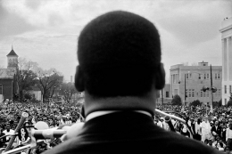 Dr. Martin Luther King, Jr. speaking to 25,000 civil rights marchers at end of Selma to Montgomery, Alabama march, March 25, 1965