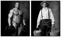 Bodybuilder / Amish Farmer, 2006 / 2004, 20 x 32-1/2 Diptych, Archival Pigment Print, Ed. 20