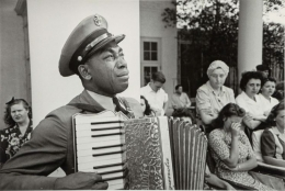 Ed Clark C.P.O. Graham Jackson mourning the death of Franklin D. Roosevelt, April 13, 1945, 1945